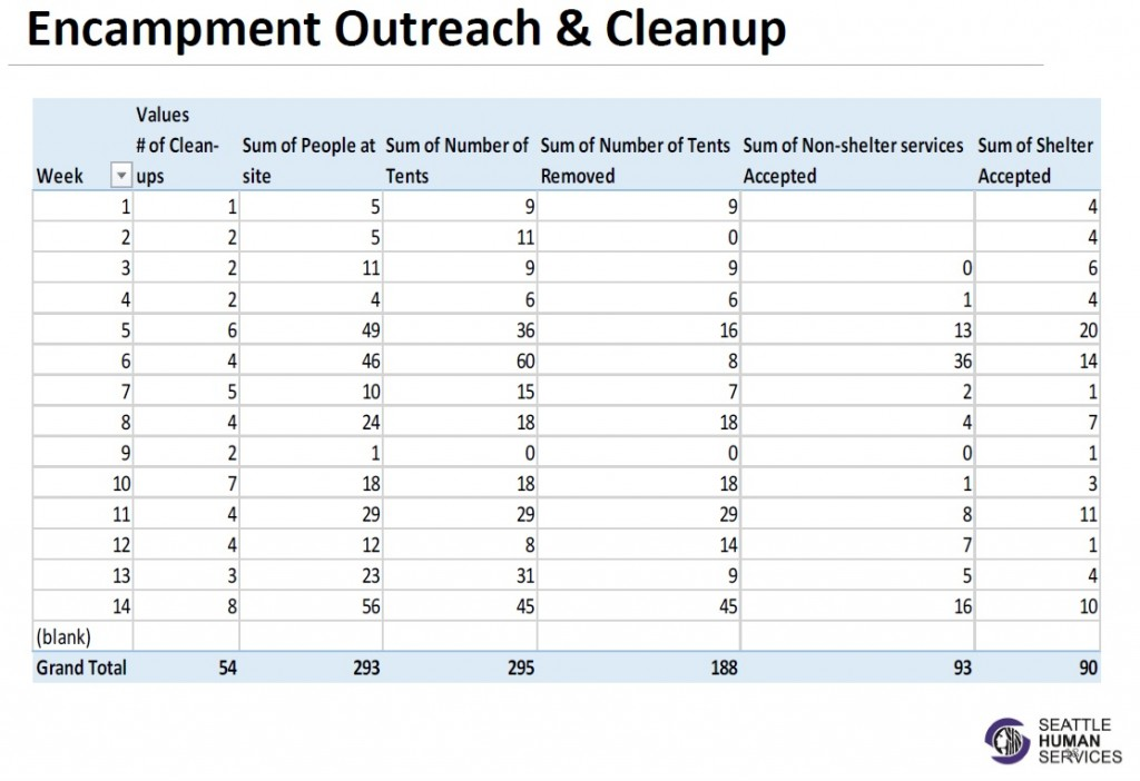 Homeless encampment cleanup statistics