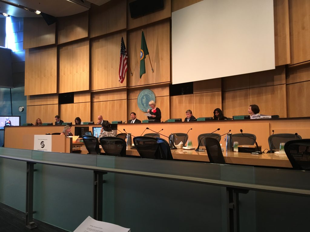 Council member Bagshaw speaks during consideration of the Occidental Avenue street vacation