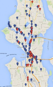 Homeless encampments around Seattle. Red dots are 3+ tents at the site; Blue dots are 2 or fewer.