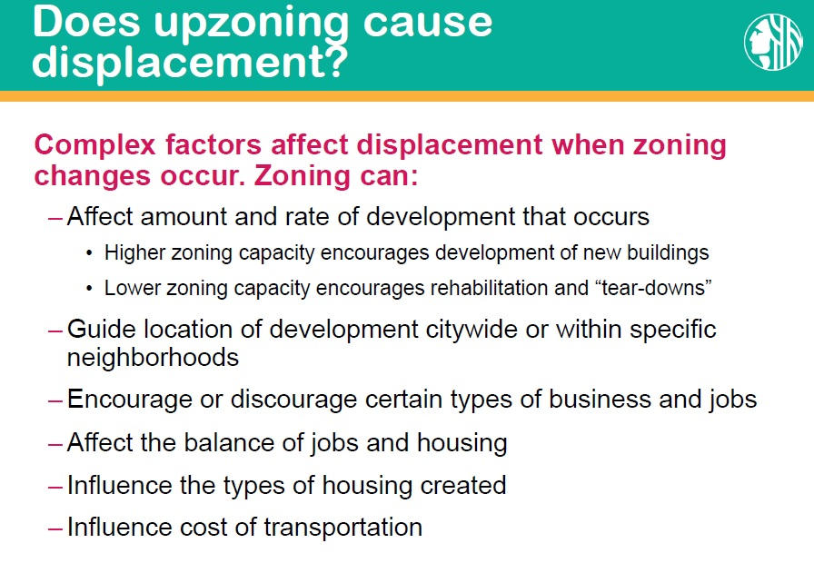 does upzoning cause displacement