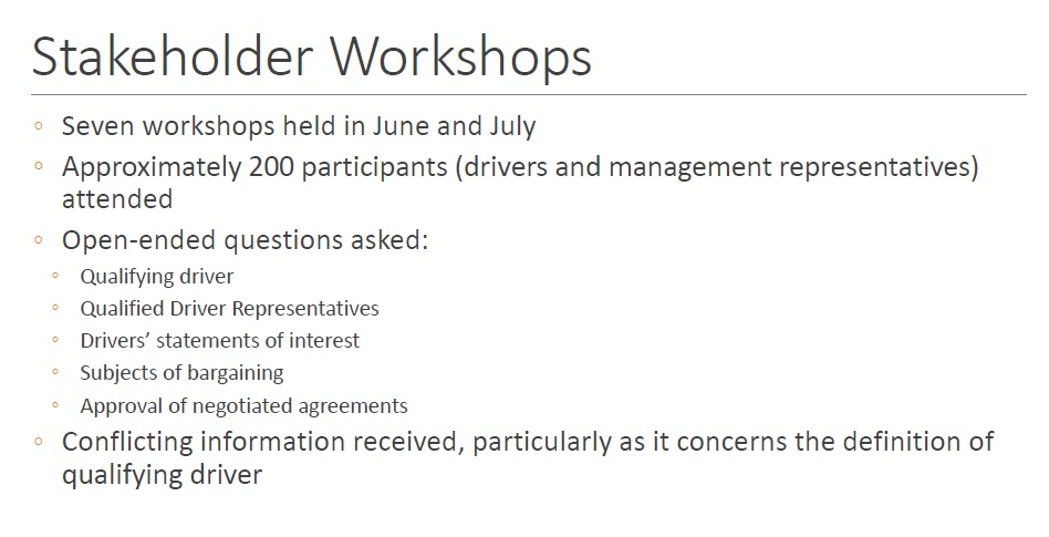 uber FAS stakeholder workshops
